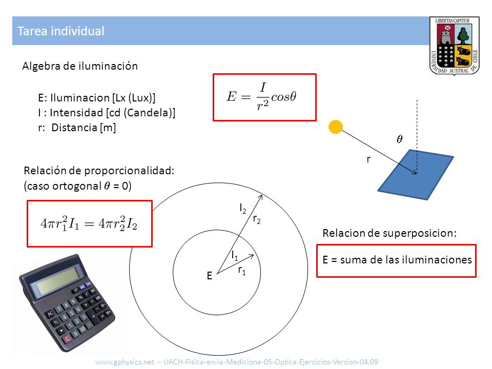 Tarea individual Algebra de iluminación E: Iluminacion [Lx (Lux)]